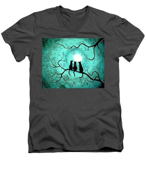 Three Black Cats Under A Full Moon Men's V-Neck T-Shirt