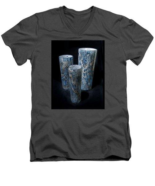 Three Blue Cylinders Men's V-Neck T-Shirt