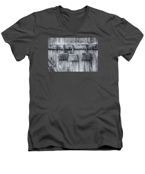Men's V-Neck T-Shirt featuring the photograph Three Brushes Black And White by Tom Singleton