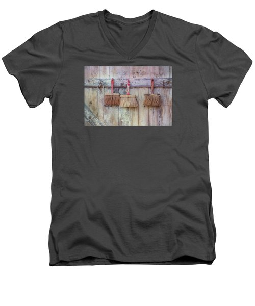 Men's V-Neck T-Shirt featuring the photograph Three Brushes by Tom Singleton