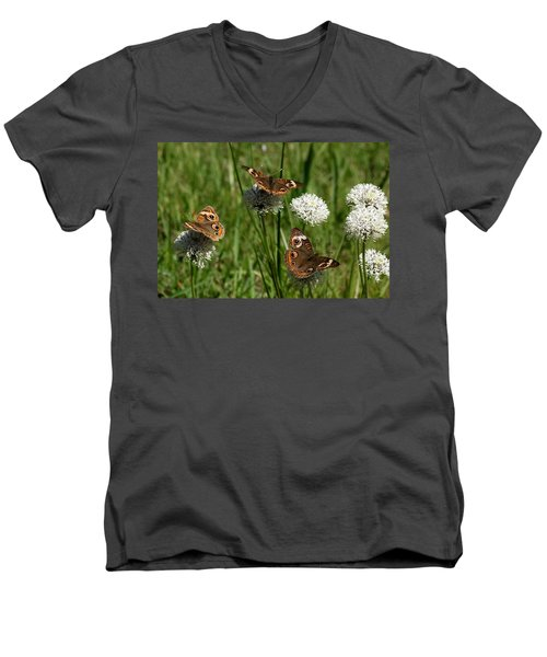 Three Buckeye Butterflies On Wildflowers Men's V-Neck T-Shirt by Sheila Brown