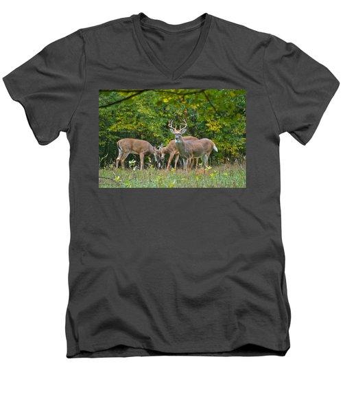 Three Bucks_0054_4463 Men's V-Neck T-Shirt by Michael Peychich
