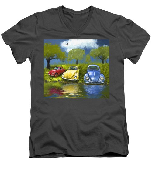 Three Bugs On A Hill Men's V-Neck T-Shirt