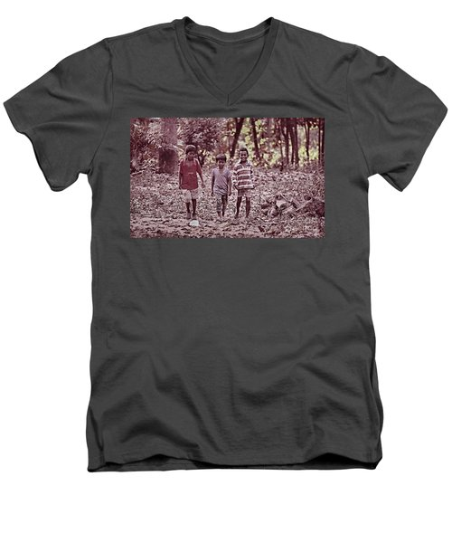 Men's V-Neck T-Shirt featuring the photograph Three Campanions by Arik S Mintorogo
