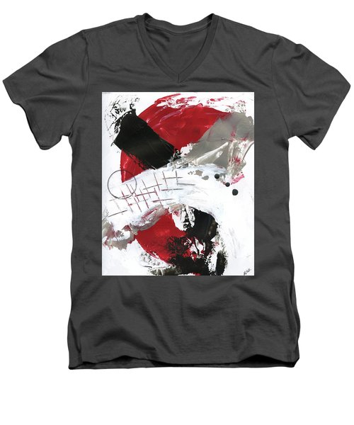 Men's V-Neck T-Shirt featuring the painting Three Color Palette Red 2 by Michal Mitak Mahgerefteh