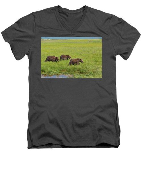 Three Cubs Moving On Men's V-Neck T-Shirt