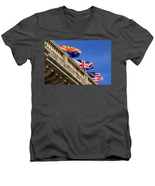 Three Flags At London Bridge Men's V-Neck T-Shirt by James Eddy