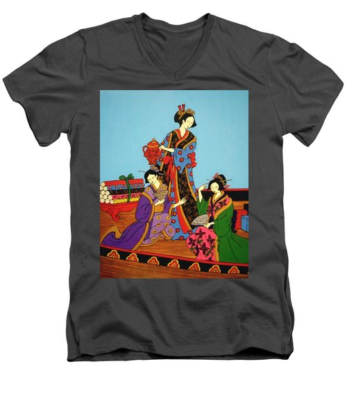 Men's V-Neck T-Shirt featuring the painting Three Geishas by Stephanie Moore