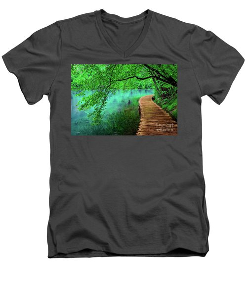Tree Hanging Over Turquoise Lakes, Plitvice Lakes National Park, Croatia Men's V-Neck T-Shirt