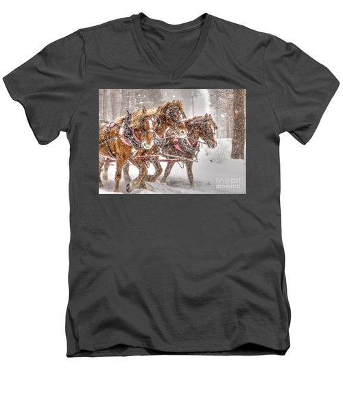 Three Horses - Color Men's V-Neck T-Shirt