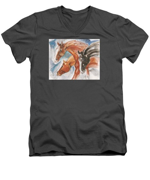Three Horses Men's V-Neck T-Shirt by Mary Armstrong