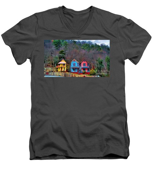 Men's V-Neck T-Shirt featuring the photograph Three Houses Hot Springs Ar by Diana Mary Sharpton