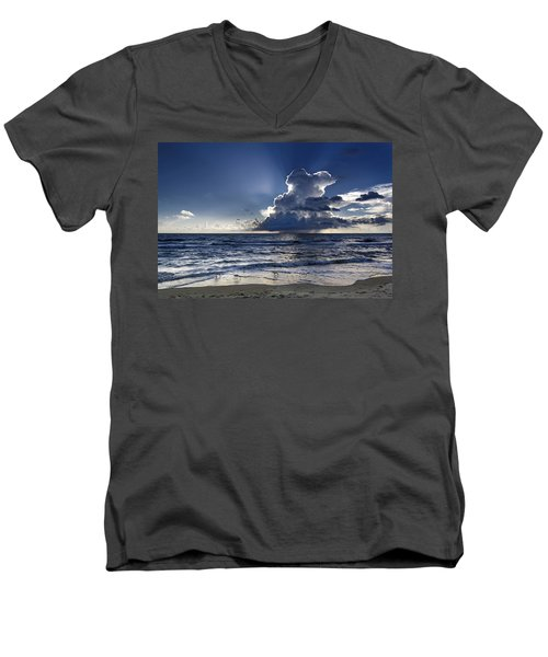 Men's V-Neck T-Shirt featuring the photograph Three Ibises Before The Storm by Steven Sparks