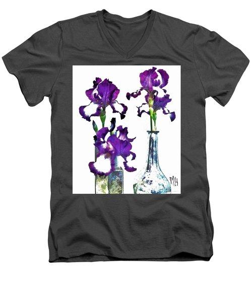 Three Irises In Vases Men's V-Neck T-Shirt by Marsha Heiken
