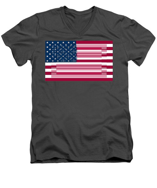 Three Layered Flag Men's V-Neck T-Shirt by David Bridburg
