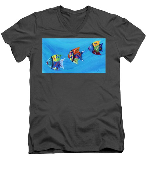 Men's V-Neck T-Shirt featuring the painting Three Little Fishy's by Jamie Frier