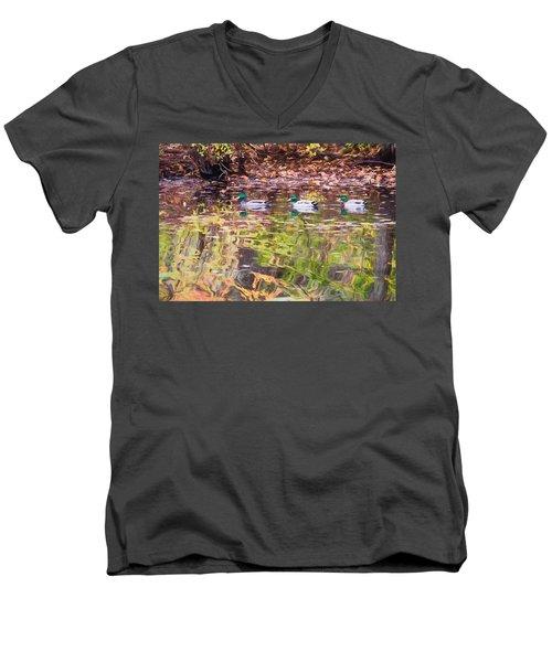 Three Mallards. Men's V-Neck T-Shirt