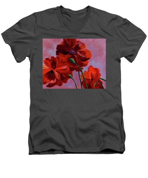 Three Oriental Poppies Men's V-Neck T-Shirt