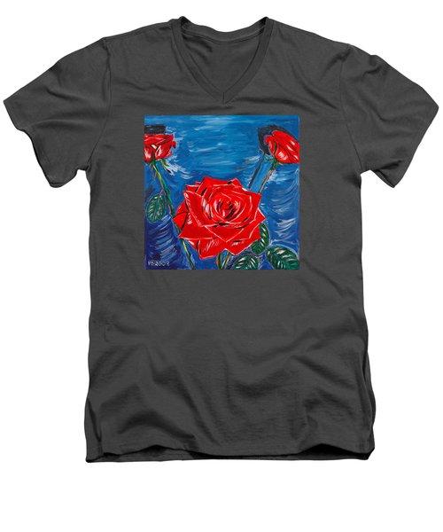 Three Red Roses Four Leaves Men's V-Neck T-Shirt by Valerie Ornstein