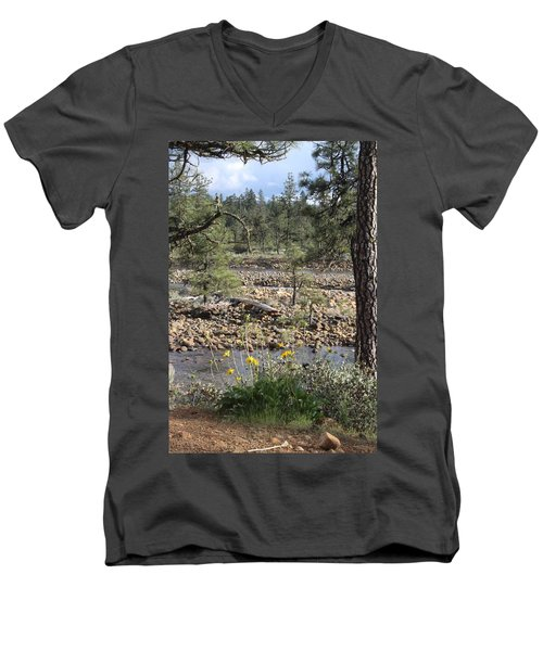 Men's V-Neck T-Shirt featuring the photograph Three Rivers In One by Marie Neder