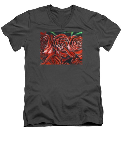 Three Rose Men's V-Neck T-Shirt