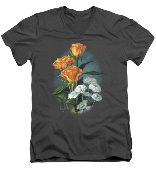 Three Roses Men's V-Neck T-Shirt by Lucie Bilodeau