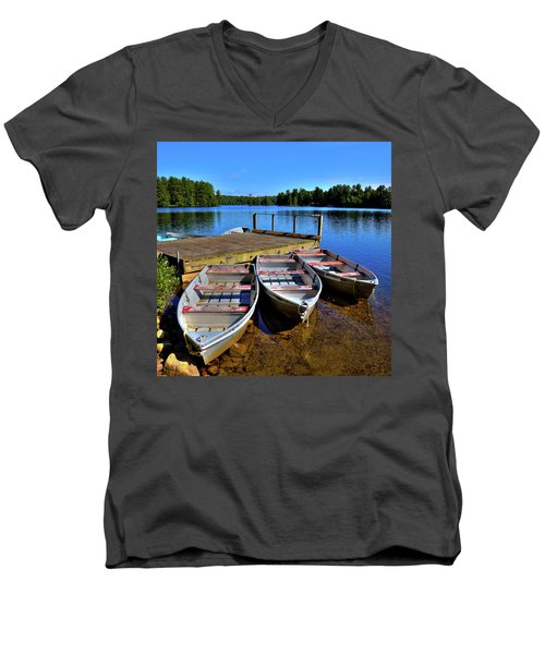 Three Rowboats Men's V-Neck T-Shirt by David Patterson