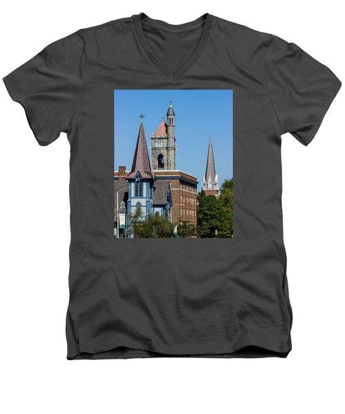 Three Steeples Of St Johnsbury Vermont Men's V-Neck T-Shirt by Tim Kirchoff