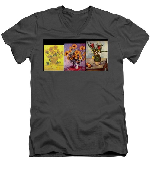 Three Vases Van Gogh - Cezanne Men's V-Neck T-Shirt by David Bridburg