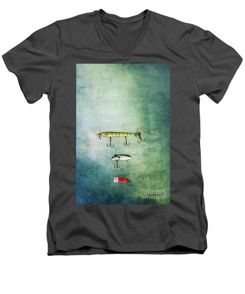 Three Vintage Fishing Lures Men's V-Neck T-Shirt