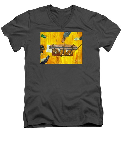 Men's V-Neck T-Shirt featuring the painting Three Violins by Jock McGregor