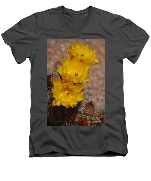 Three Yellow Cactus Flowers Men's V-Neck T-Shirt