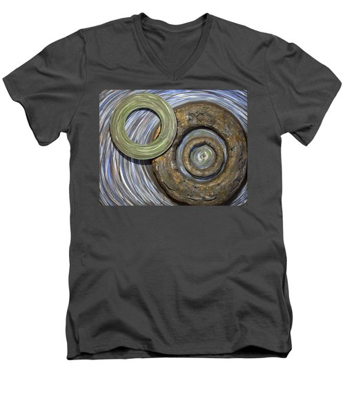 Men's V-Neck T-Shirt featuring the painting Threes A Crowd by Jacqueline Athmann
