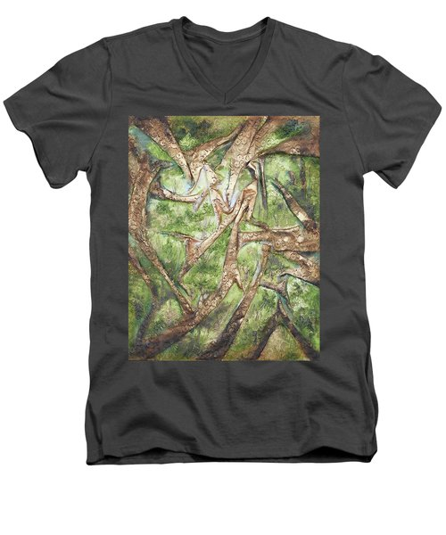 Through Lacy Branches Men's V-Neck T-Shirt by Angela Stout