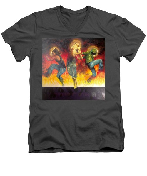 Men's V-Neck T-Shirt featuring the painting Through The Fire by Christopher Marion Thomas