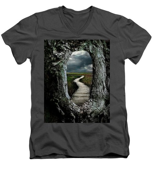 Through The Knot Hole Men's V-Neck T-Shirt by Rick Mosher