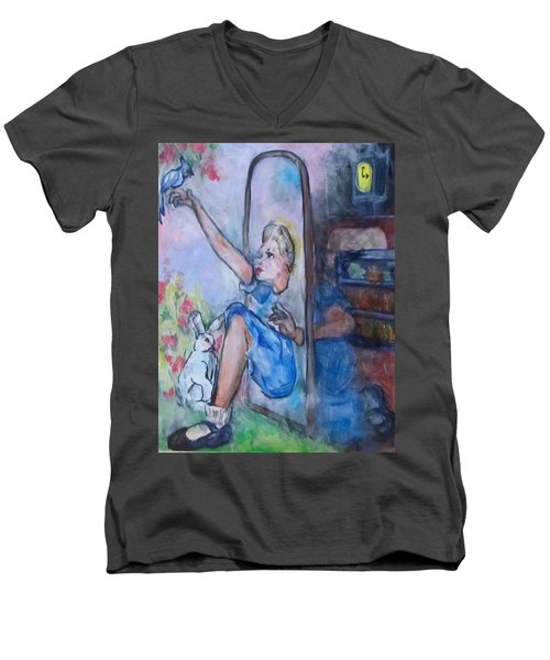 Through The Looking Glass Men's V-Neck T-Shirt by Barbara O'Toole