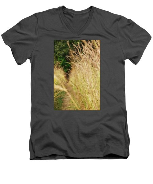 Men's V-Neck T-Shirt featuring the photograph Through The Tall Grass by Nikki McInnes