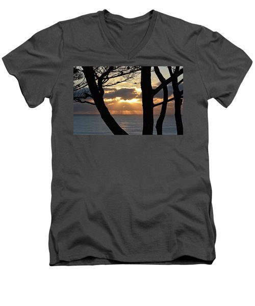 Men's V-Neck T-Shirt featuring the photograph Through The Trees by AJ Schibig