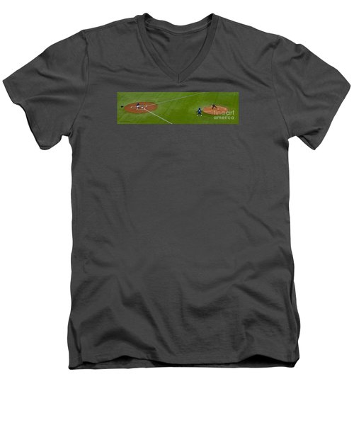 Throwing The First Pitch Men's V-Neck T-Shirt by Nina Silver