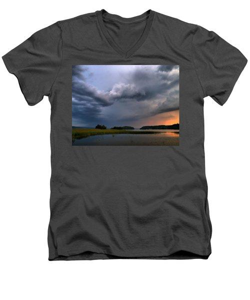 Men's V-Neck T-Shirt featuring the photograph Thunder At Siuro by Jouko Lehto