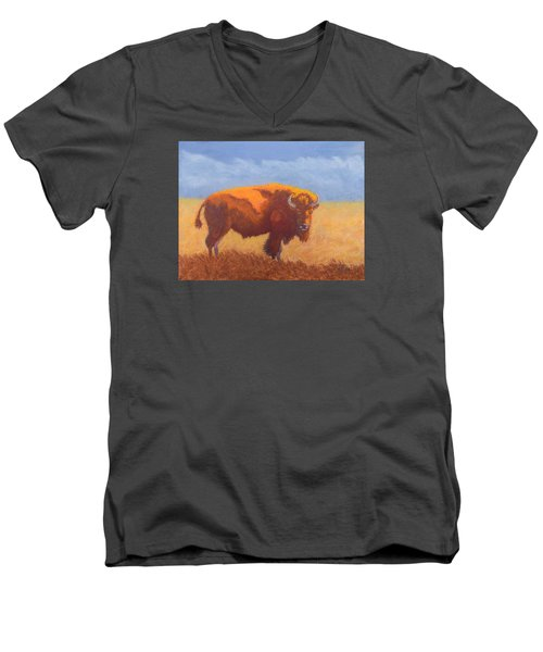 Men's V-Neck T-Shirt featuring the painting Thunder On The Prairie by Nancy Jolley