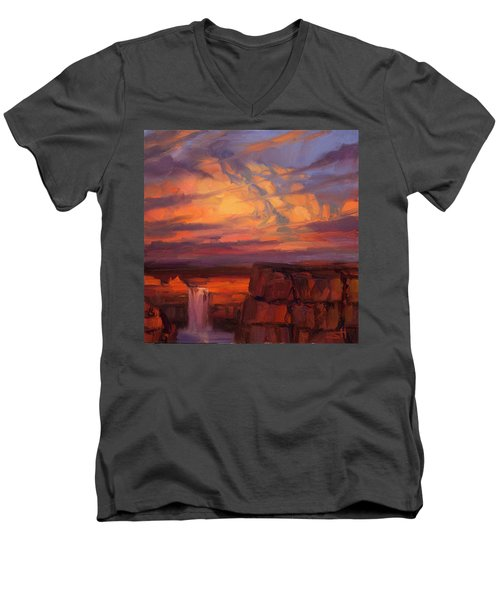 Men's V-Neck T-Shirt featuring the painting Thundercloud Over The Palouse by Steve Henderson