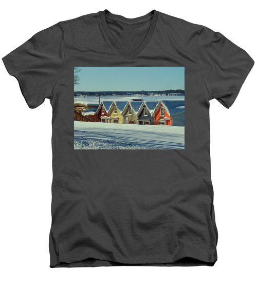 Winter View Ti Park Boathouses Men's V-Neck T-Shirt
