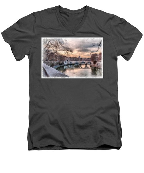 Men's V-Neck T-Shirt featuring the photograph Tiber - Aquarelle by Sergey Simanovsky