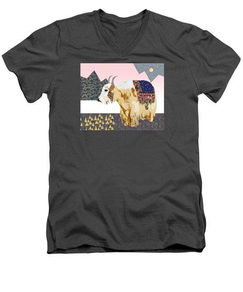 Tibet Yak Collage Men's V-Neck T-Shirt by Claudia Schoen