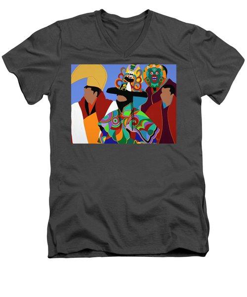 Tibetan Monks Cham Dancer Men's V-Neck T-Shirt