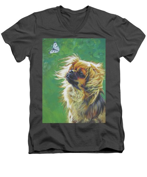 Tibetan Spaniel And Cabbage White Butterfly Men's V-Neck T-Shirt