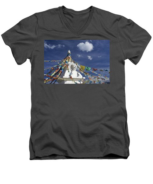 Tibetan Stupa With Prayer Flags Men's V-Neck T-Shirt