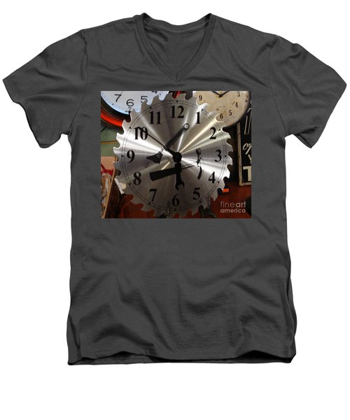 Men's V-Neck T-Shirt featuring the painting Tick Tock Tick Tock by Rod Jellison